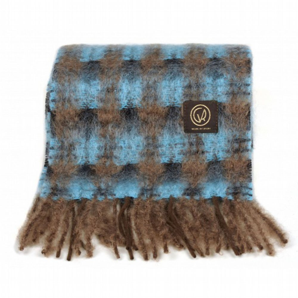 Mohair Scarf - Aquamarine / Mint Check